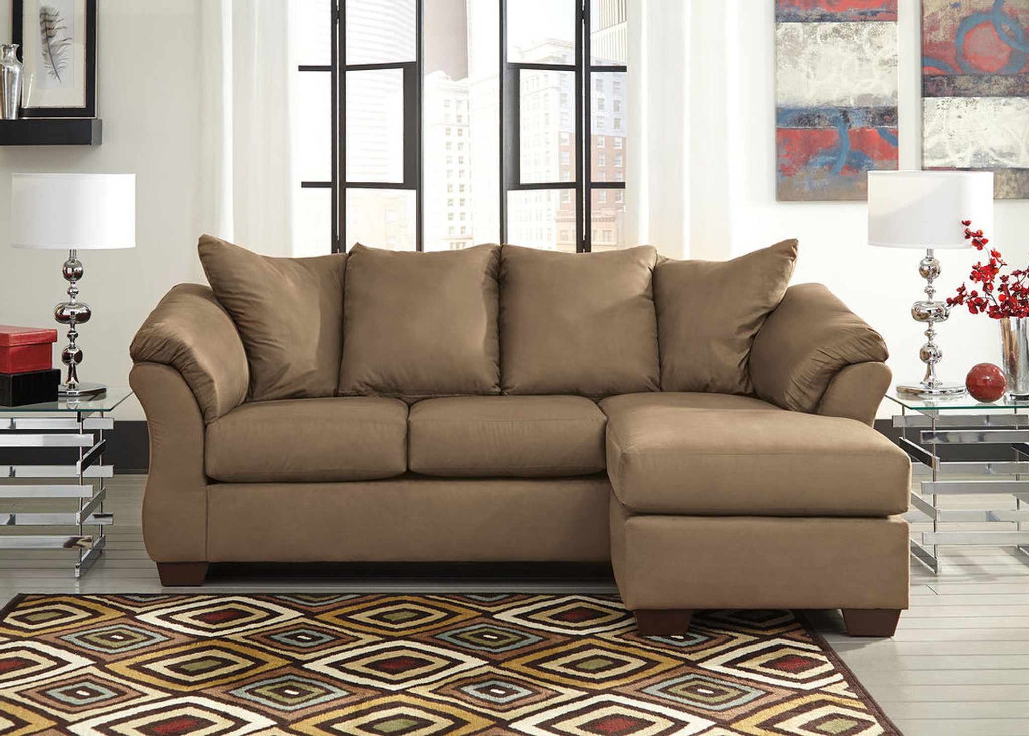 Outstanding Darcy Mocha Sofa Chaise Dailytribune Chair Design For Home Dailytribuneorg