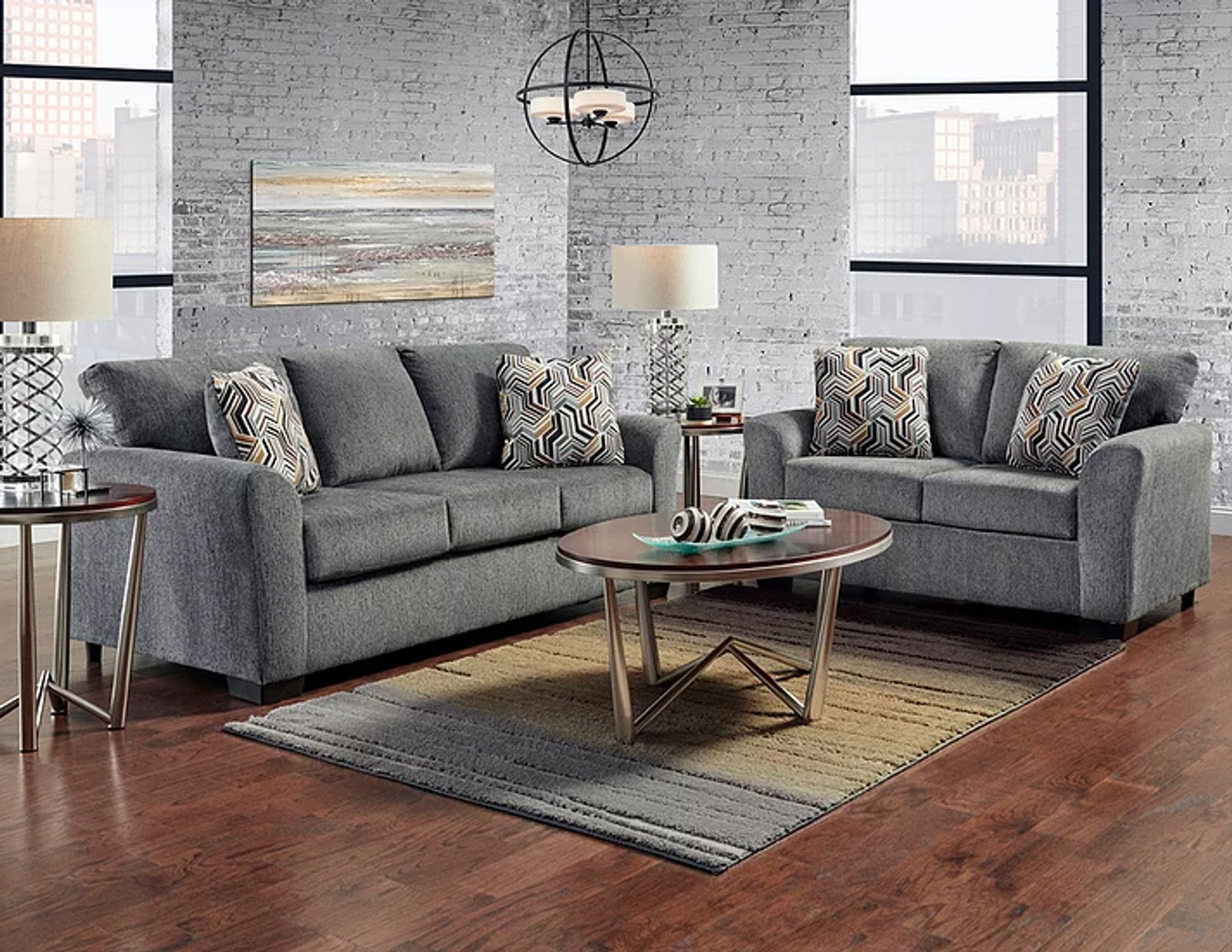 Fabulous 2 Pcs Allure Grey Sofa Loveseat Set Interior Design Ideas Clesiryabchikinfo