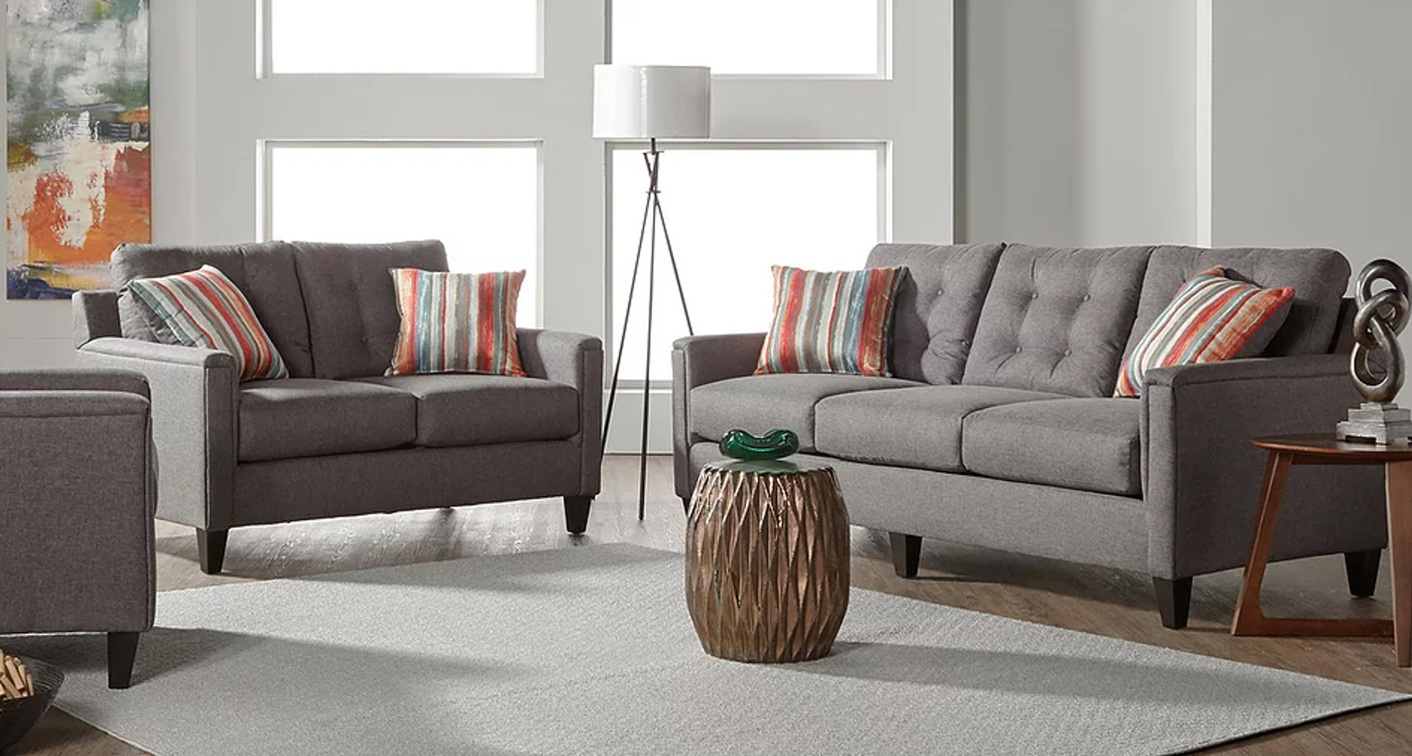 2 PCS JITTERBUG GRAY SOFA & LOVESEAT SET