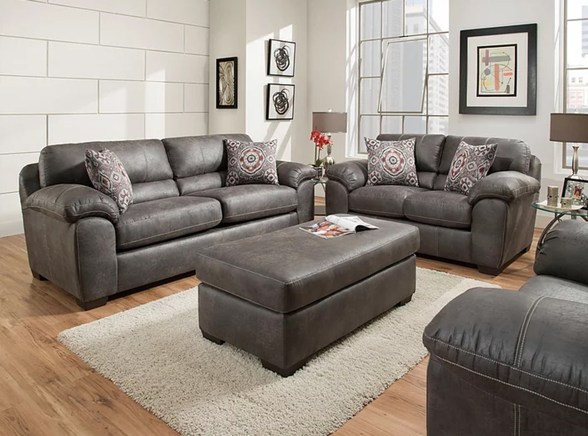 Awe Inspiring 2 Pcs Santa Fe Grey Sofa Loveseat Set Interior Design Ideas Clesiryabchikinfo