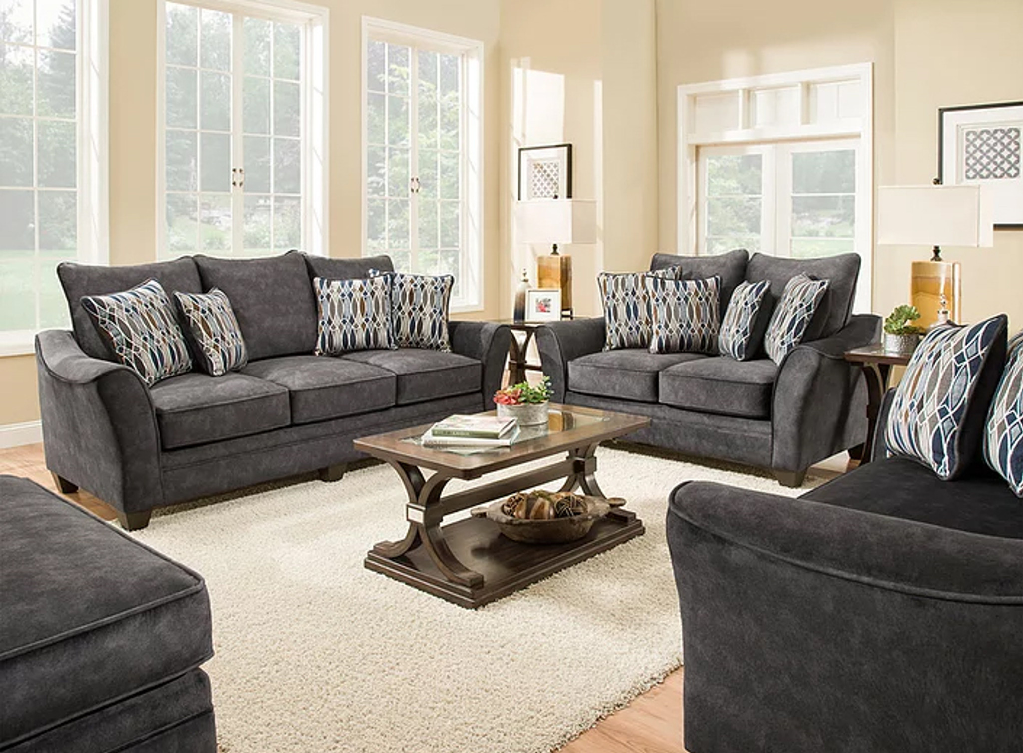 2 PCS ATHENA GRAY SOFA & LOVESEAT SET