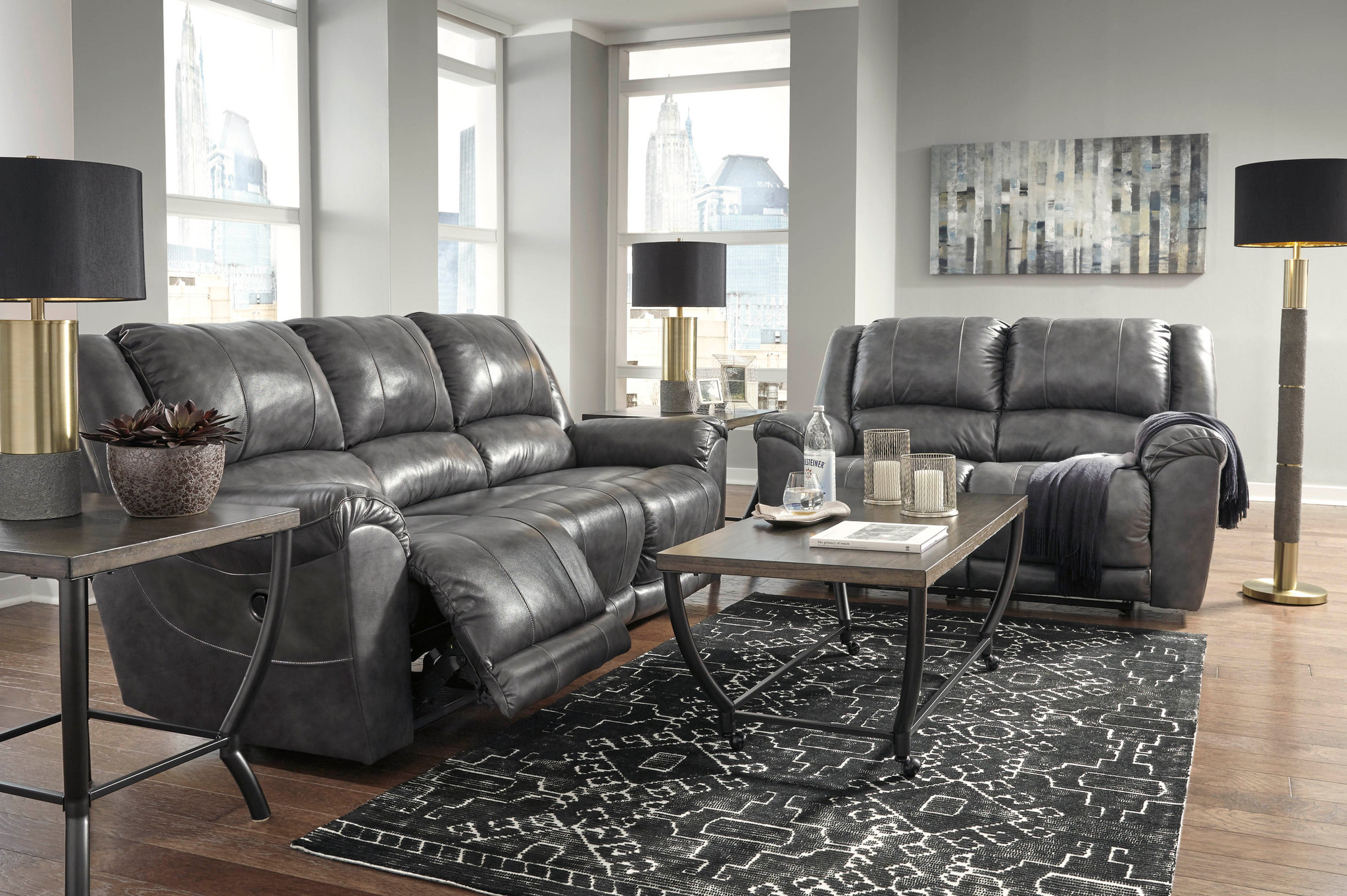 Enjoyable 2Pc Persiphone Charcoal Sofa And Loveseat Reclining Set Download Free Architecture Designs Scobabritishbridgeorg
