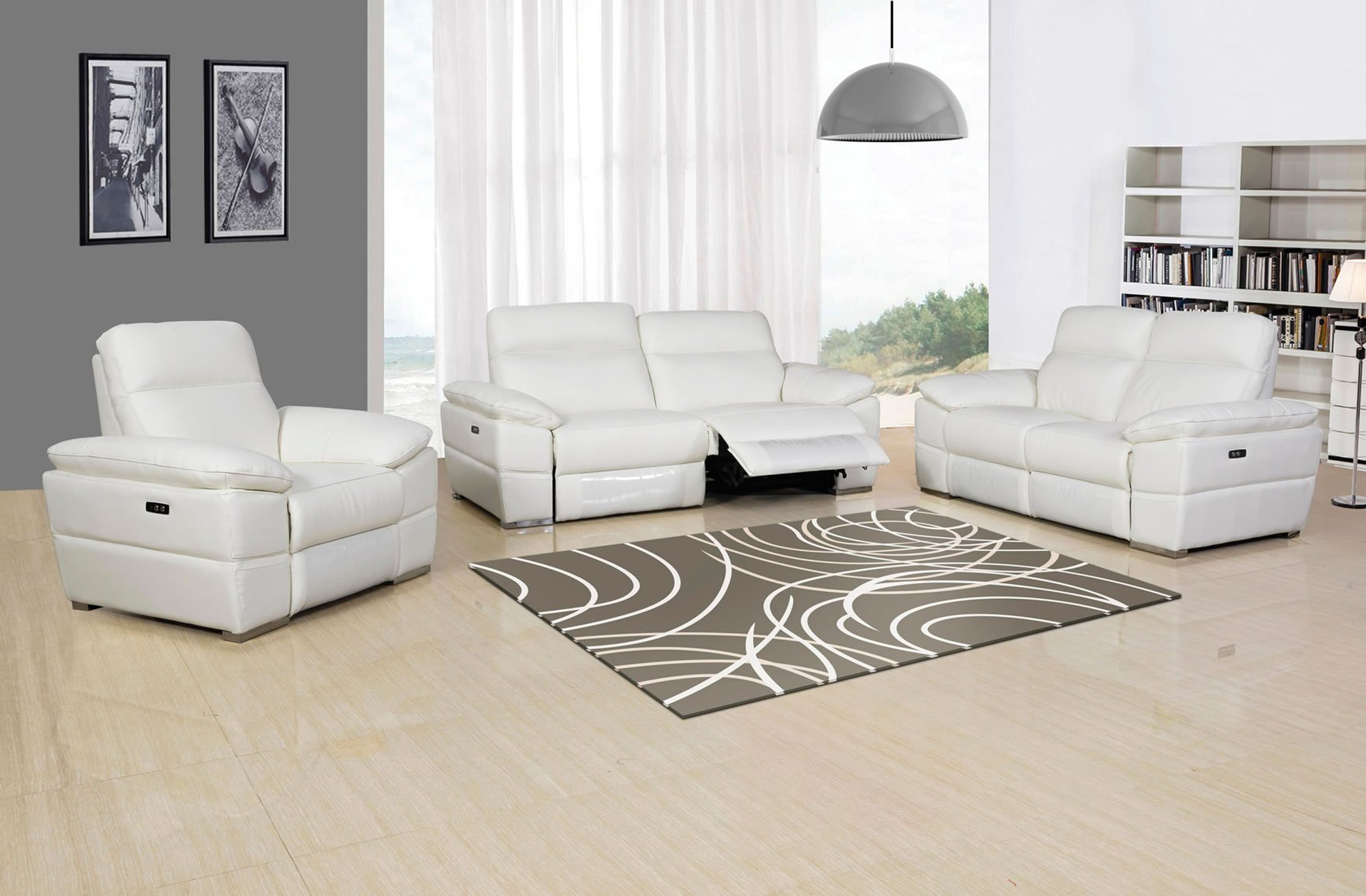 - RIVALDO TOP GRAIN LEATHER 2PCS POWER MOTION RECLINING SET IN WHITE