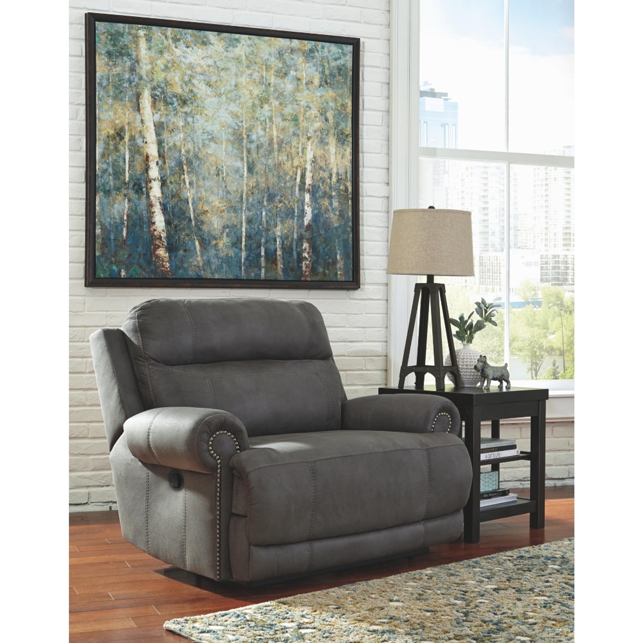 Amazing Austere Gray Wide Seat Recliner Spiritservingveterans Wood Chair Design Ideas Spiritservingveteransorg