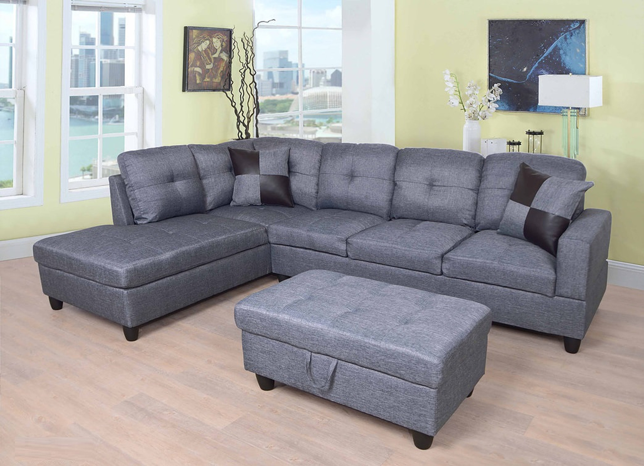 Blue Gray Color 3pcs Fabric Sectional Sofa Chaise And Storage