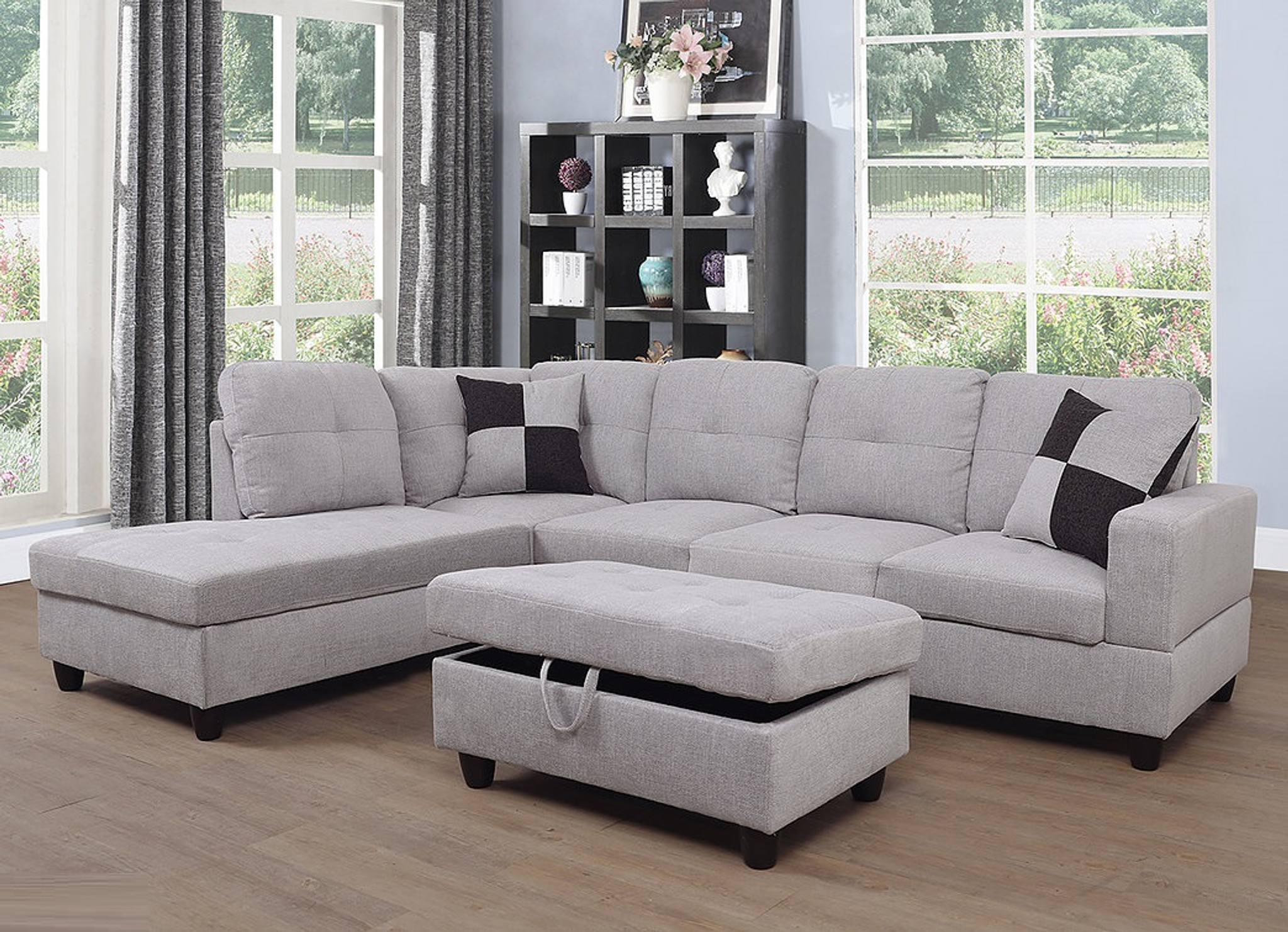 light gray color 3pcs fabric sectional sofa chaise and storage ottoman