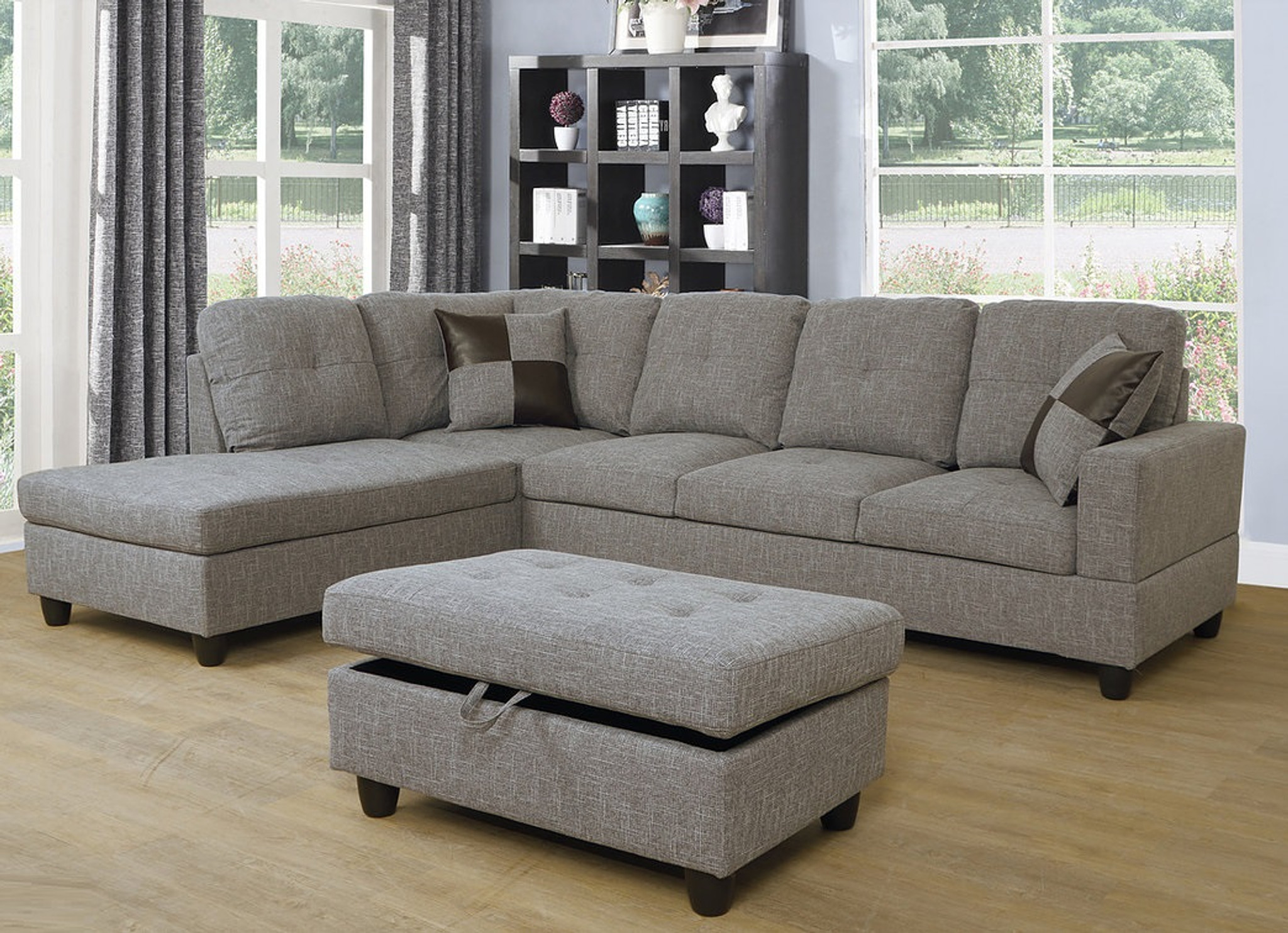 CHARCOAL GRAY COLOR 3PCS FABRIC SECTIONAL SOFA CHAISE AND STORAGE OTTOMAN