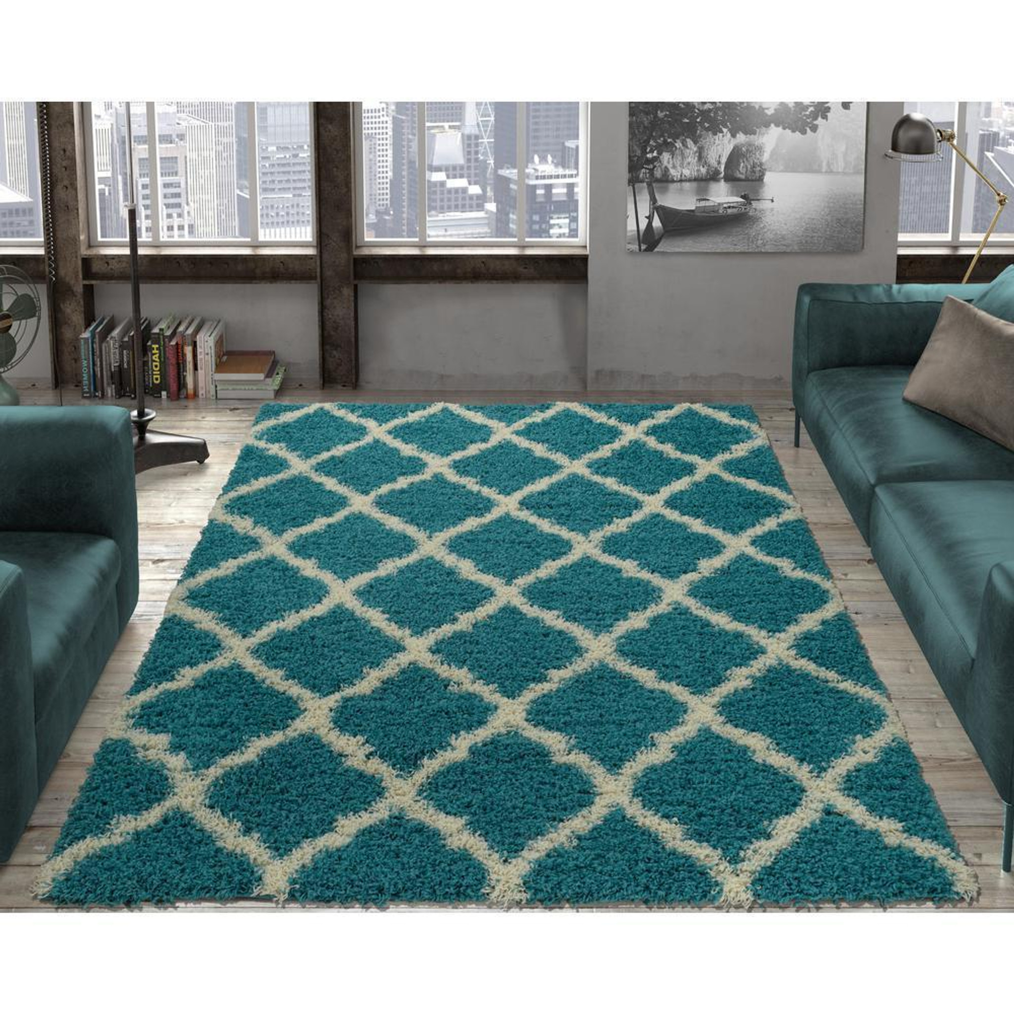 Picture of: Cozy2276 5×7 Cozy Moroccan Turquoise Shag Area Rug By Km Rugs