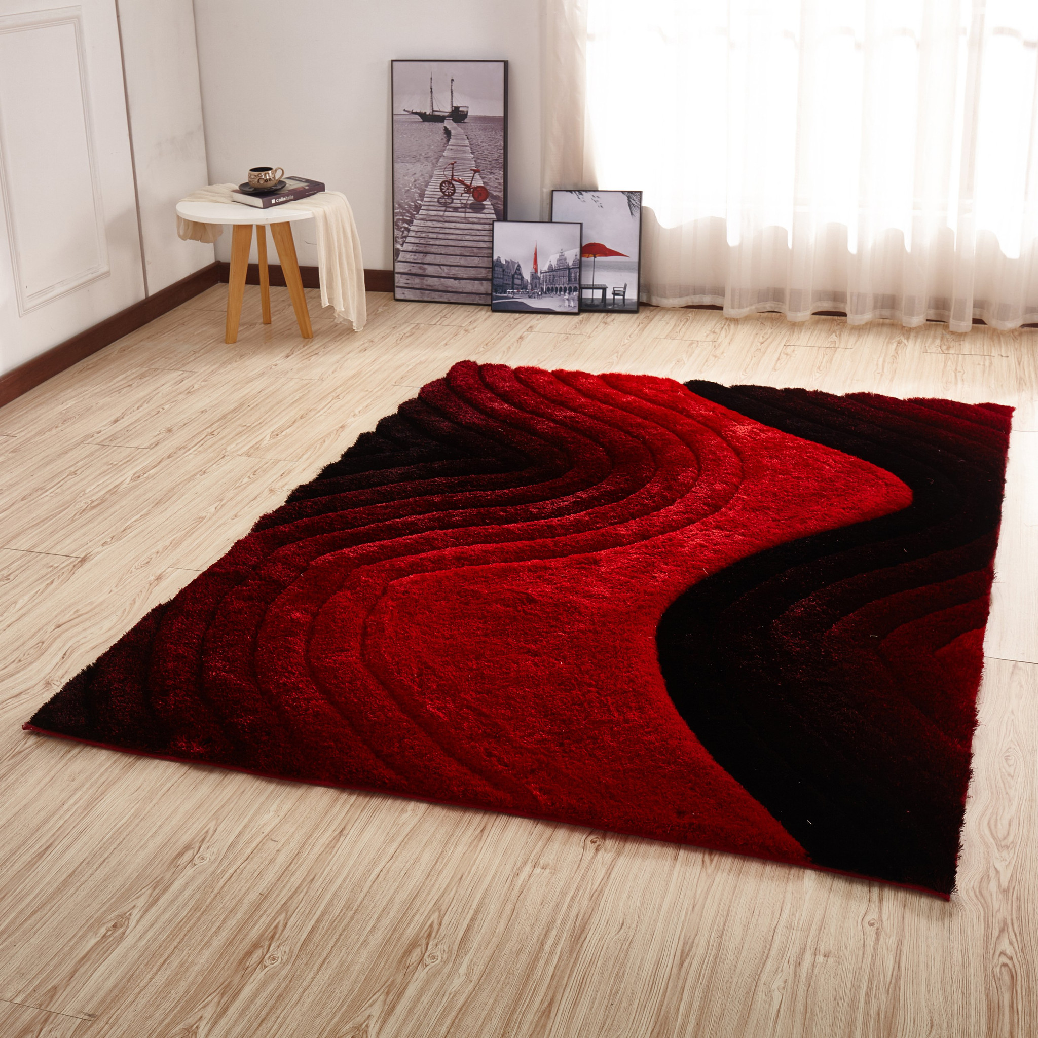 Csr2113 5x7 Crown Shag 3d Red Black Area Rug By Km Rugs