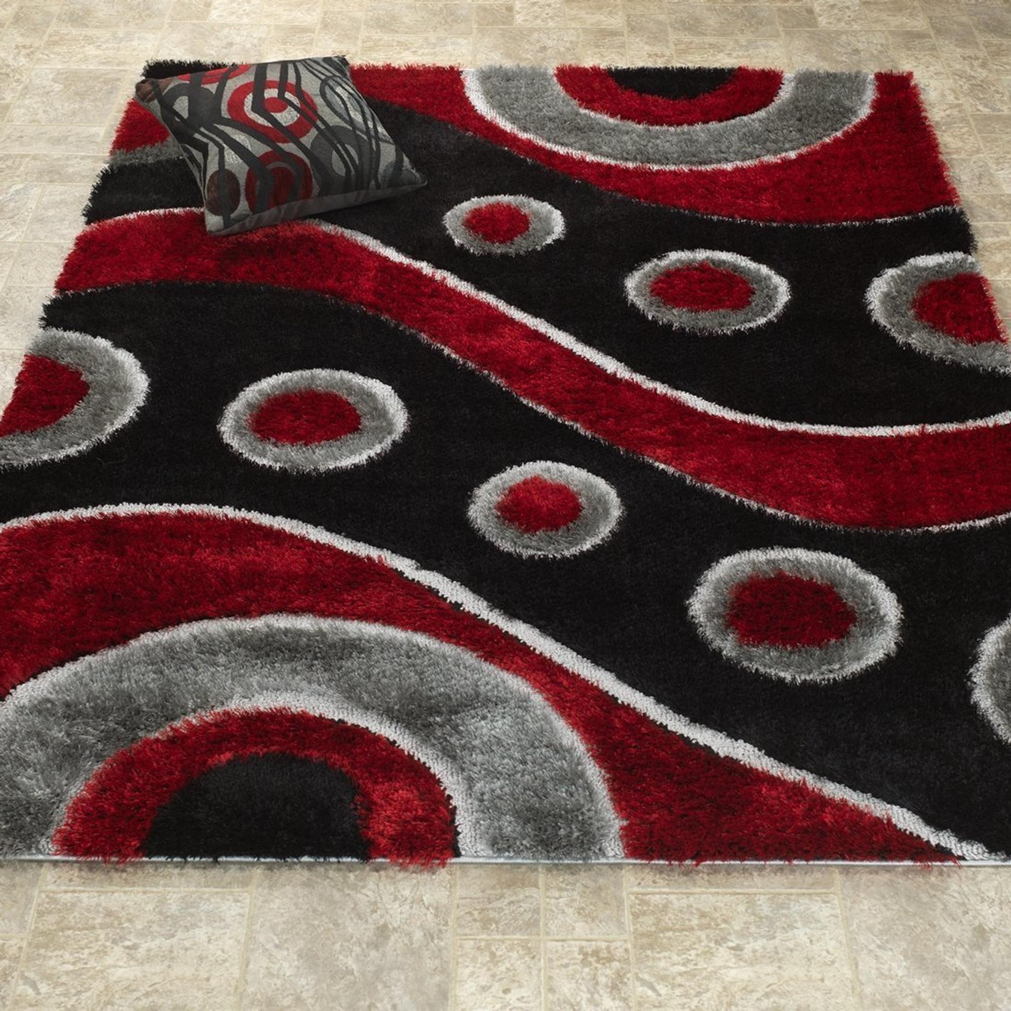 Csr3950 5x7 Casa Shag 3d Red Black Area Rug By Km Rugs