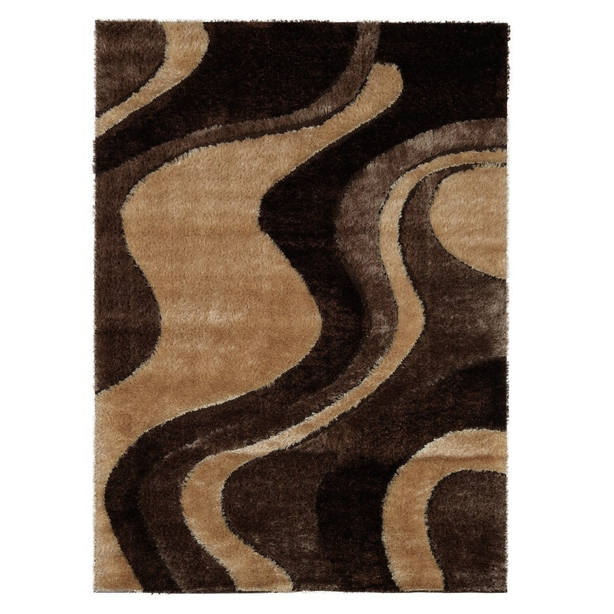 Csr3942 5x7 Casa Shag 3d Brown Beige Area Rug By Km Rugs