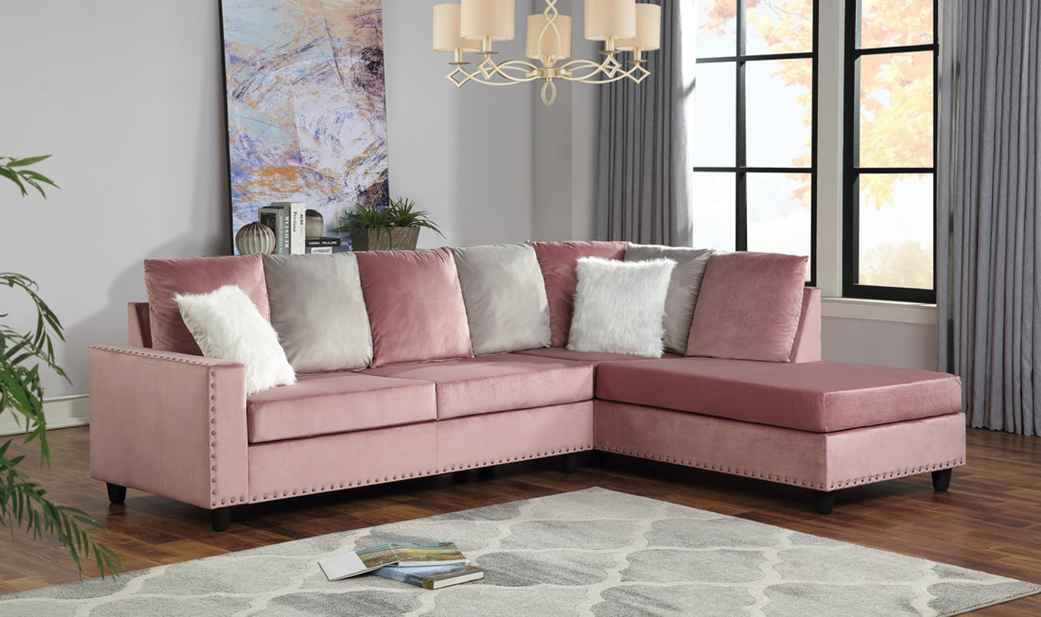Picture of: Cindy Reversible Sectional Pink By Happy Homes