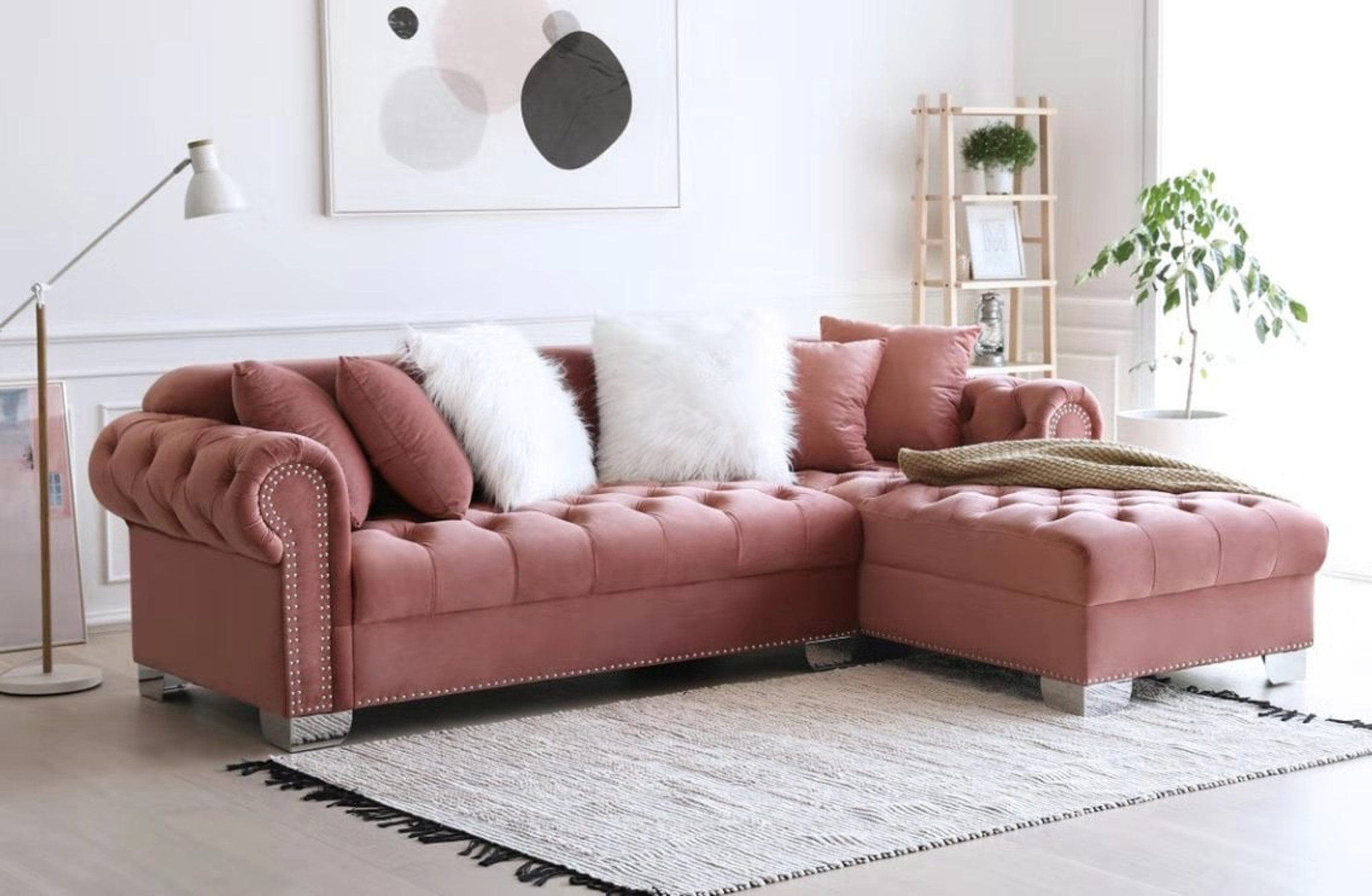 Picture of: Royal Sectional Pink By Happy Homes