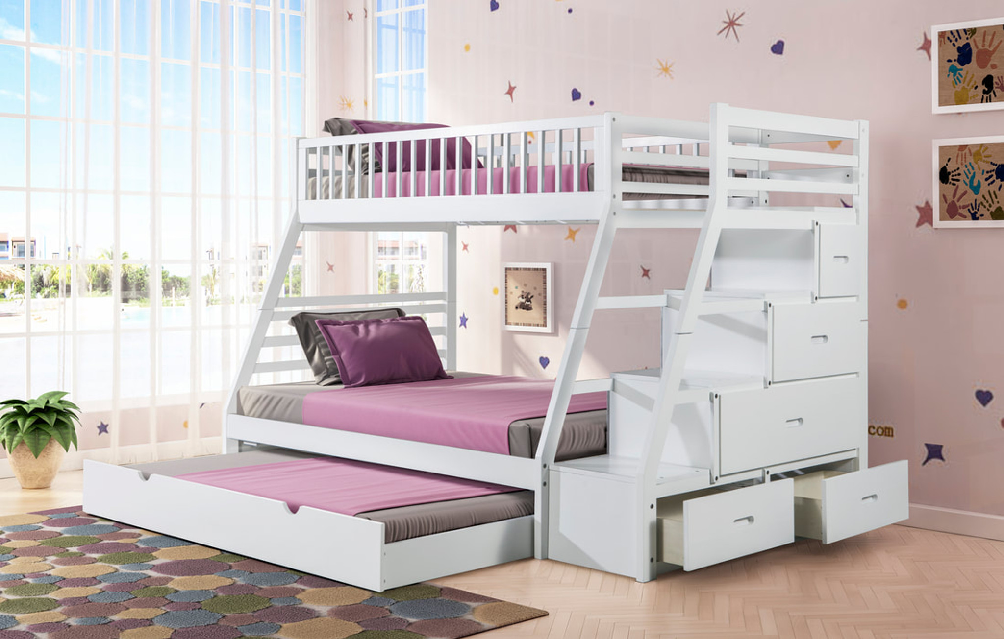 Gabriele Twin Over Full Staircase White Bunk Bed With Trundle By Happy Homes