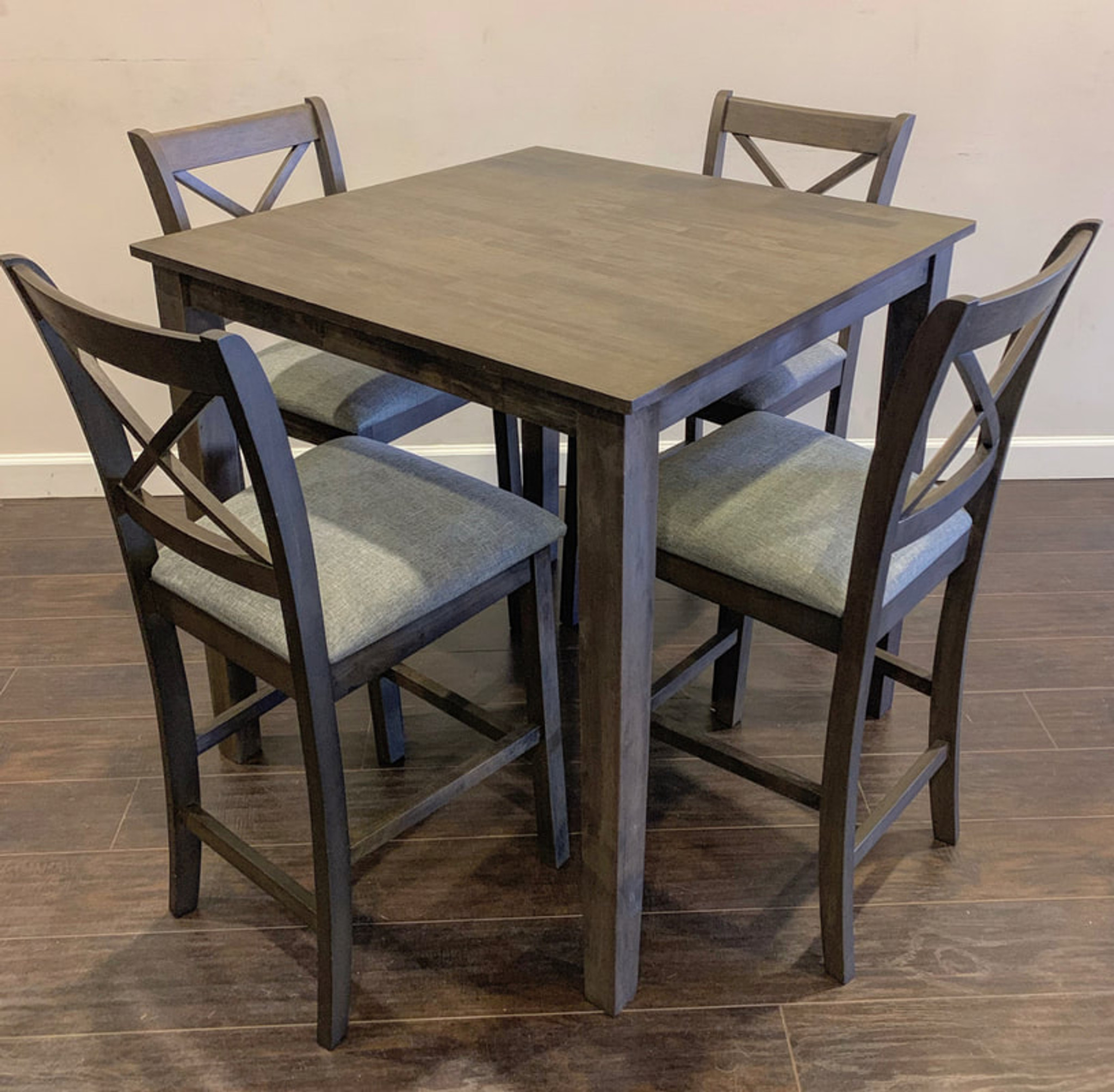 Picture of: 5pc Tahoe Counter Height Dining Table Set In Grey By Happy Homes