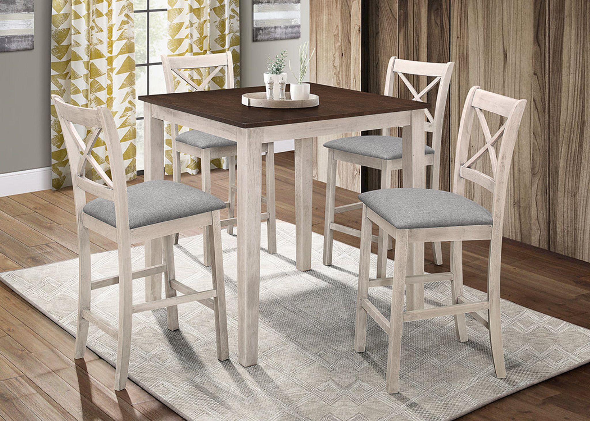Picture of: 5pc Tahoe Counter Height Dining Table Set In Antique White By Happy Homes