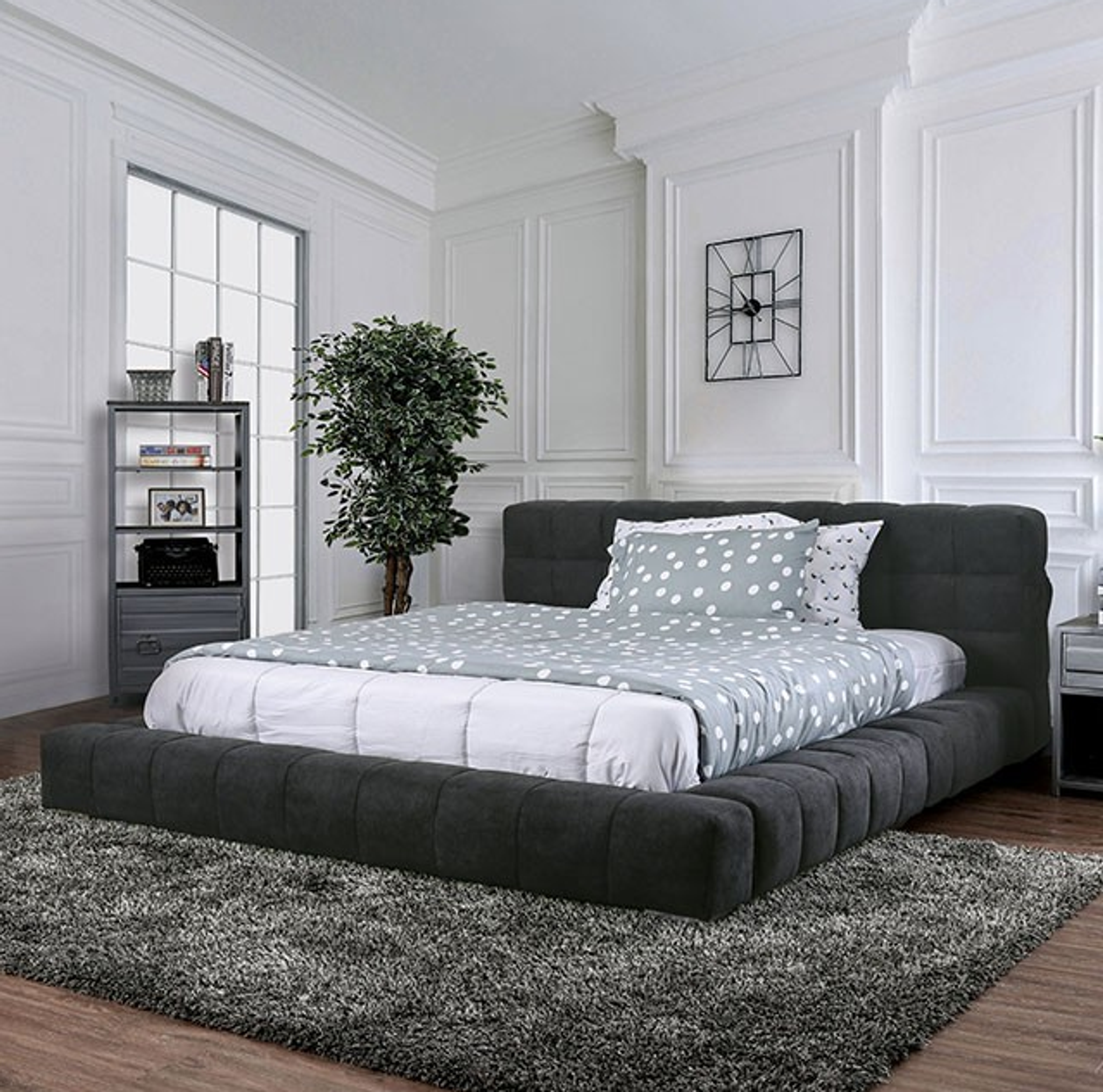 Dark Grey Contemporary Wolsey Floating Bed Minimalist Design With Usb Km Home Furniture