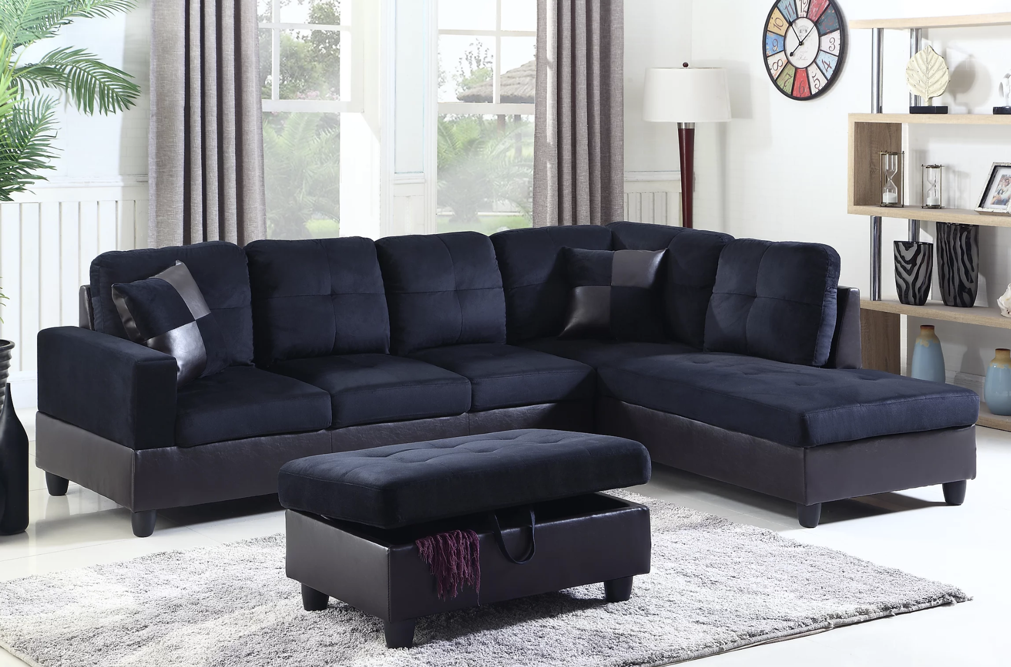 Modern Sectional 3 Pcs Sofa Chaise And Storage Ottoman Mid Night Blue Km Home Furniture