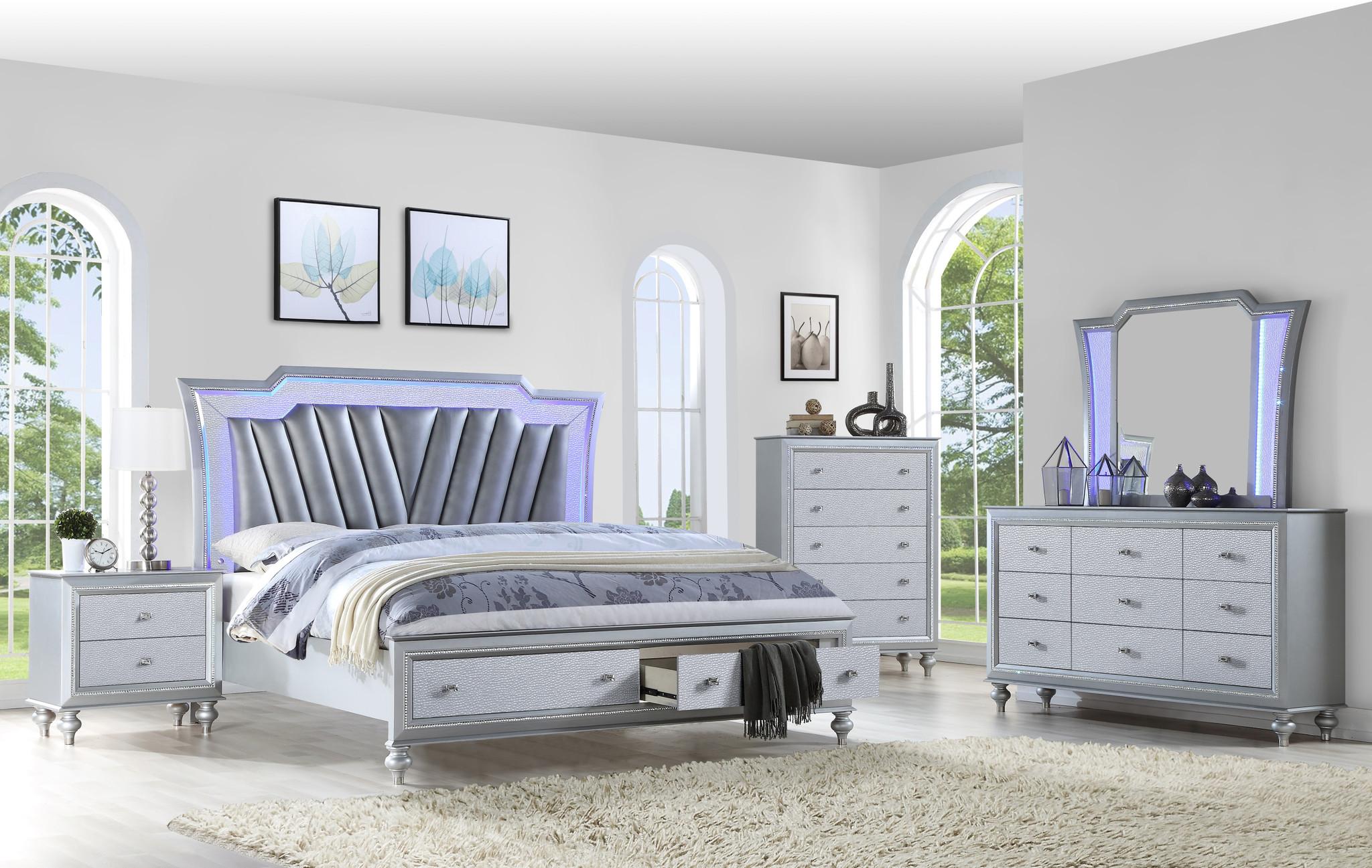 Star Collection 7 Pcs Complete Bedroom Set Modern Silver Color Led Lighting Platform Bed Kassa Mall Home Furniture