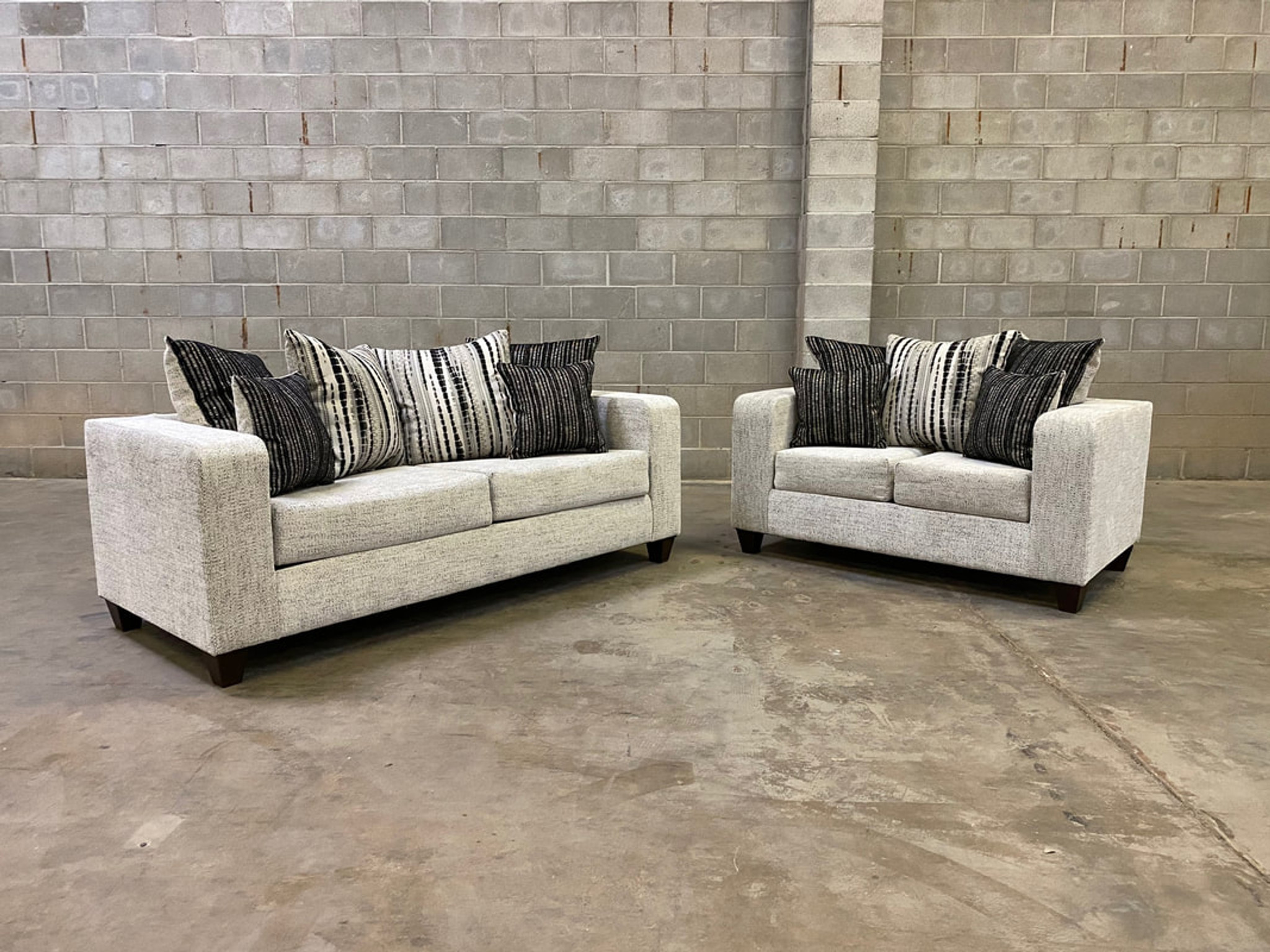 Picture of: 2pcs Urban Sofa And Loveseat In Off White Stucco Color With Accent Pilllows Happy Home Industries Houston Texas 110 Urban