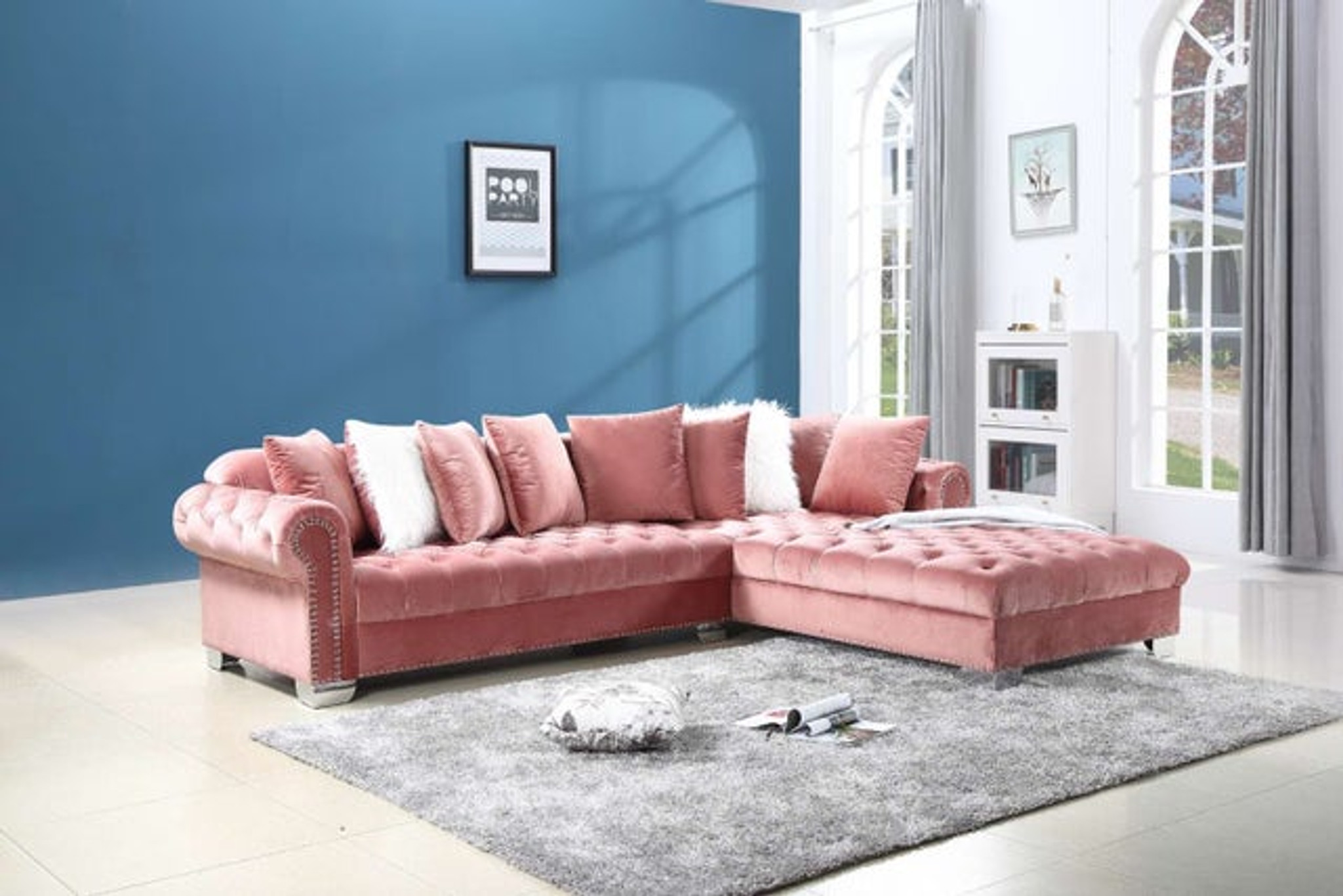 Picture of: 2 Pcs London Oversize Sectional Sofa In Pink Color Happy Home Industries Houston Texas