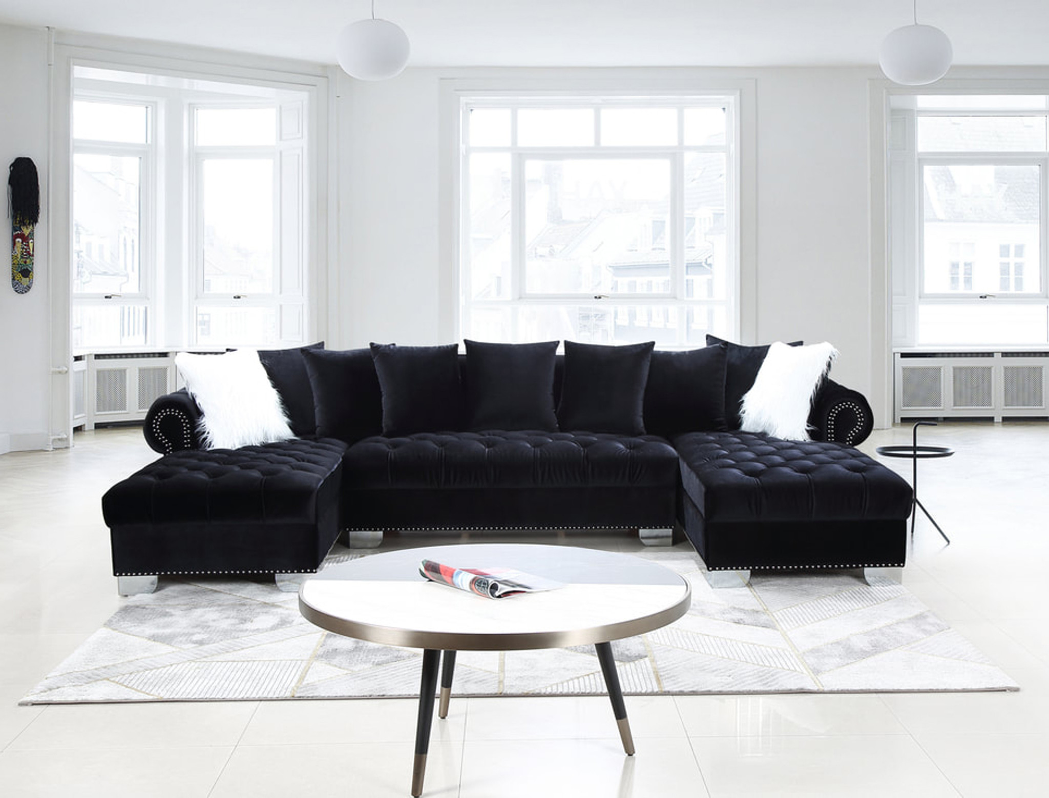 Picture of: 3 Pcs Kim Sectional Sofa And Loveseat In Black Color With Accent Pillows Happy Home Industries Houston Texas