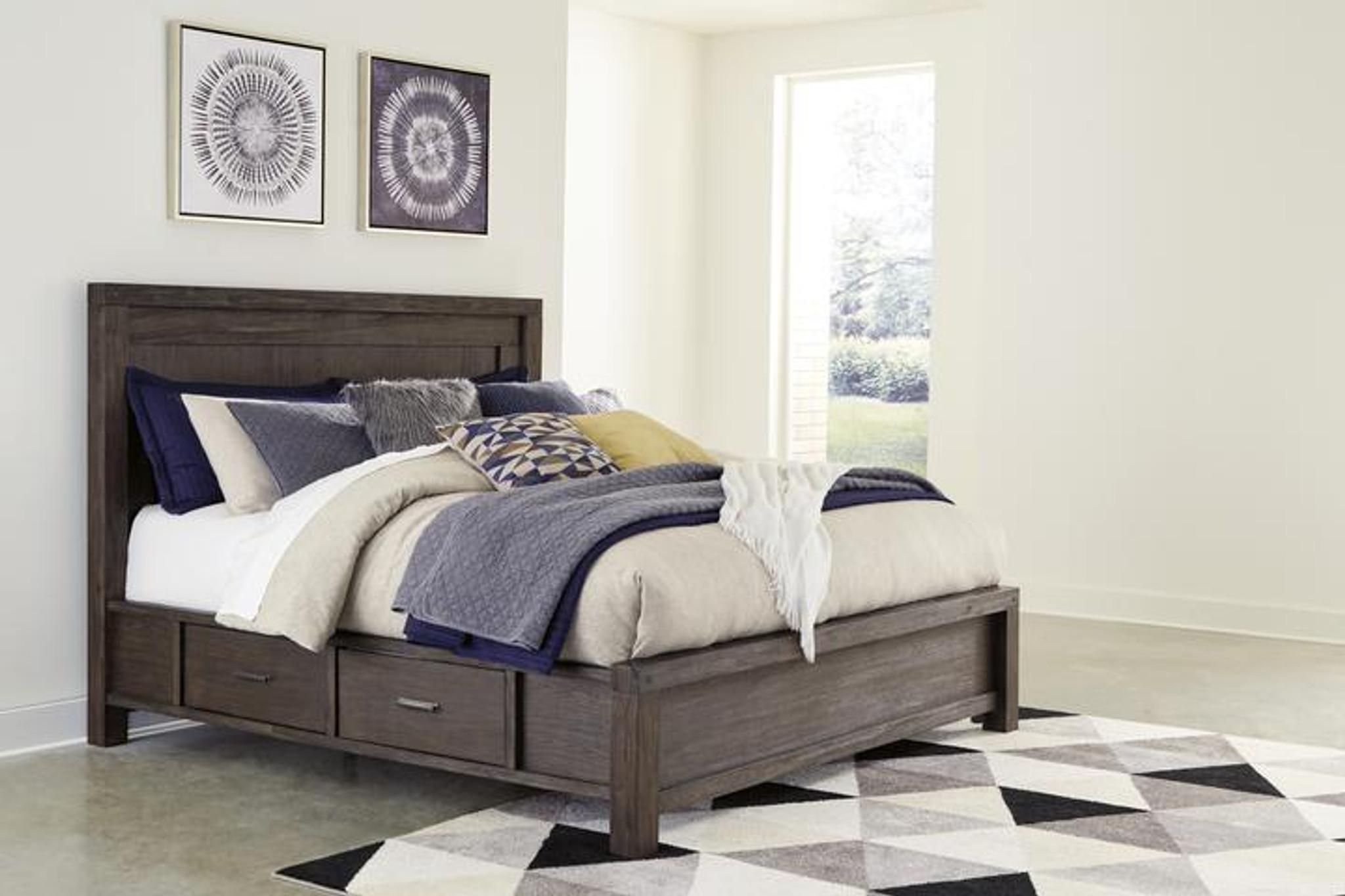 6 Pc Dellbeck Dark Brown Storage Platform Bedroom Set By Km Home Furniture Houston Texas