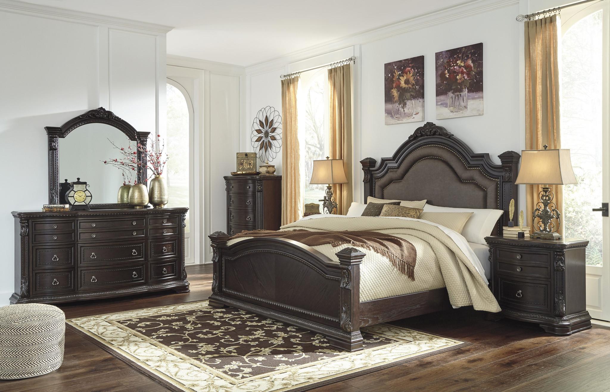 6 Pc Wellsbrook Dark Brown Upholstered Panel Bedroom Set By Km Home Furniture Houston Texas