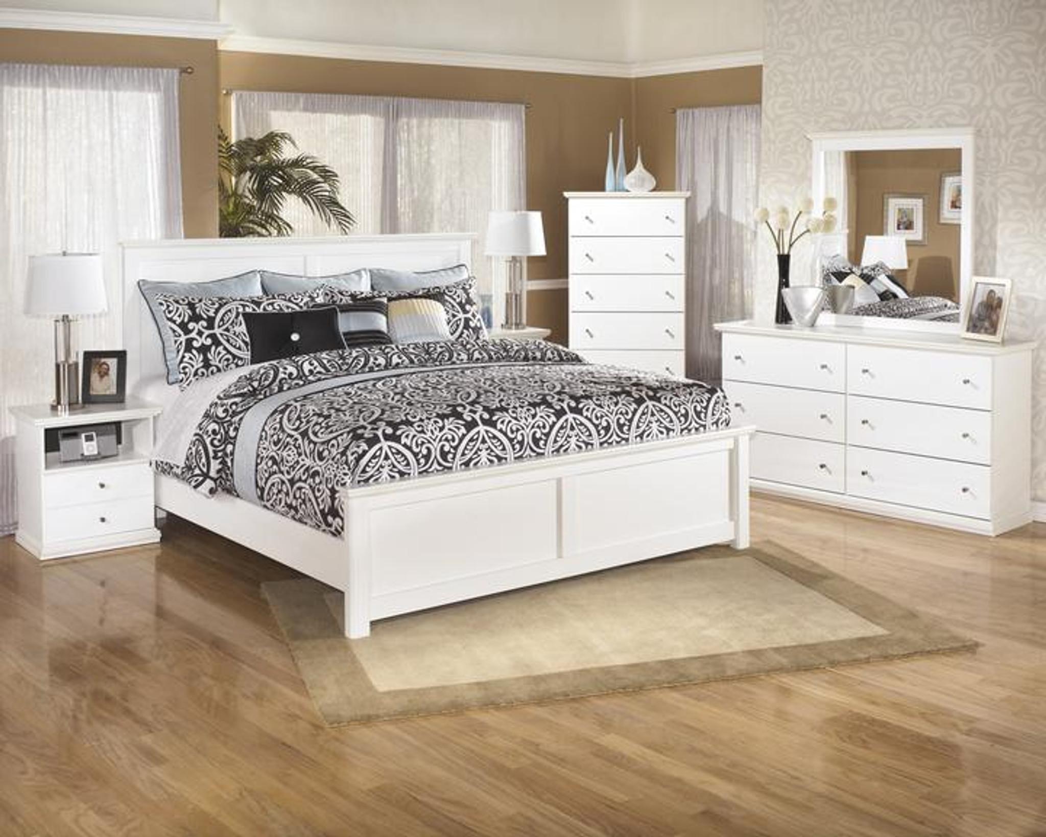 6 Pcs Bostwick Shoals White Panel Bedroom Set By Km Furniture Houston Texas