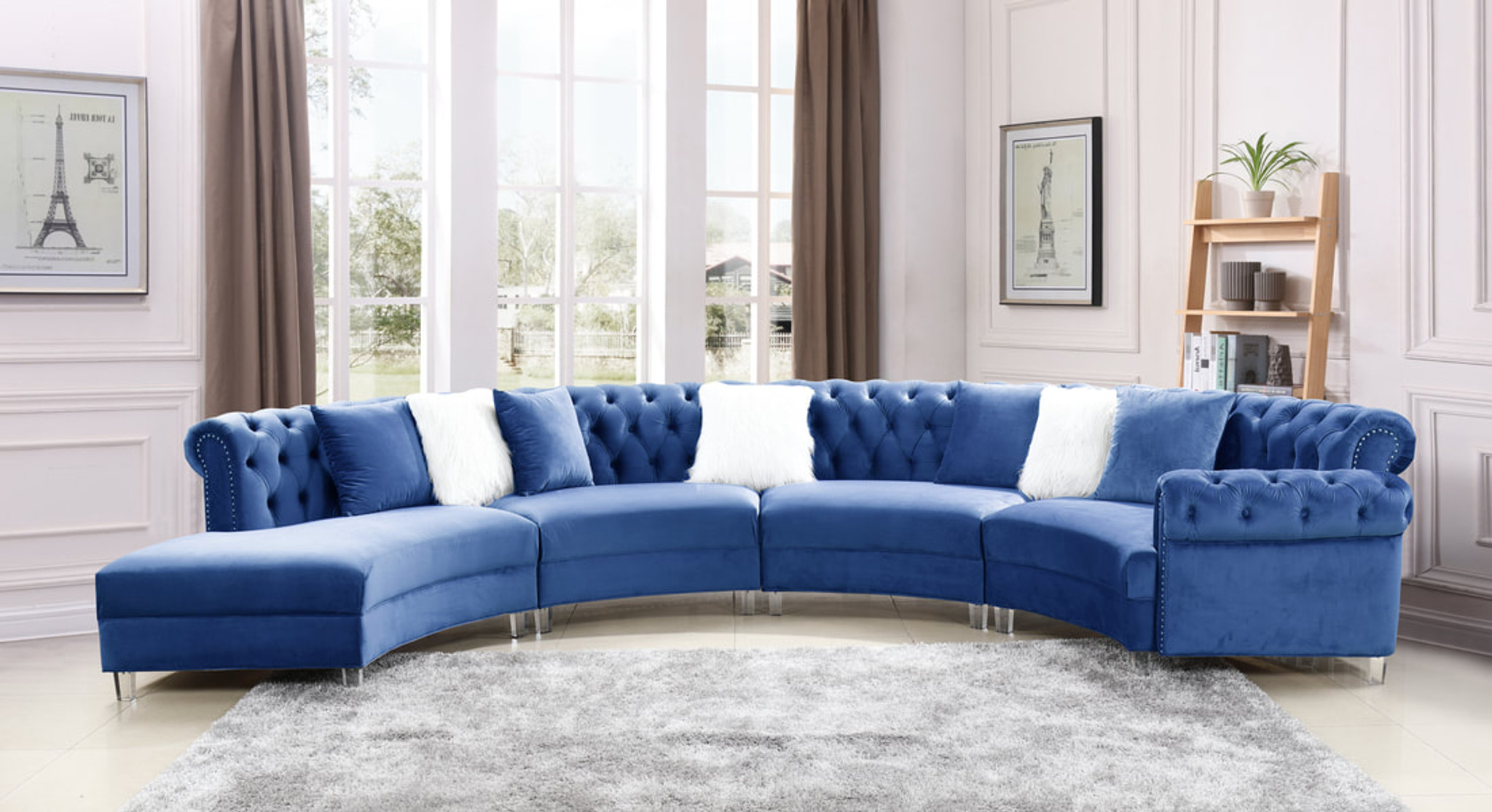 4pc Fendi Blue Velvet Sectional Sofa By Happy Home Industries