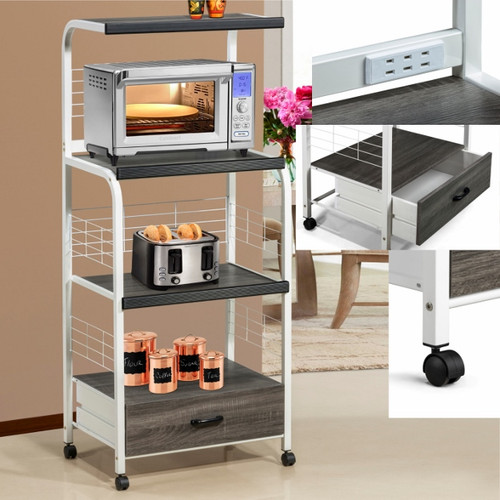 KITCHEN SHELF ON CASTERS WH/GY