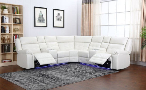 Amazon Power Reclining Sectional Sofa in White Color