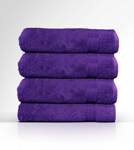 Heaven Spa Solid Purple 4 Piece 100% Cotton Bath Towel