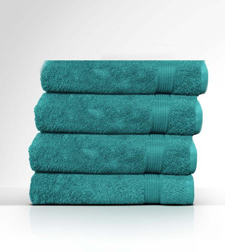 Heaven Spa Solid Teal 4 Piece 100% Cotton Bath Towel