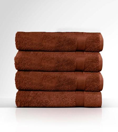 Heaven Spa Solid Brown 4 Piece 100% Cotton Bath Towel