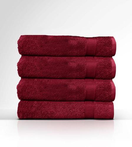 Heaven Spa Solid Red 4 Piece 100% Cotton Bath Towel