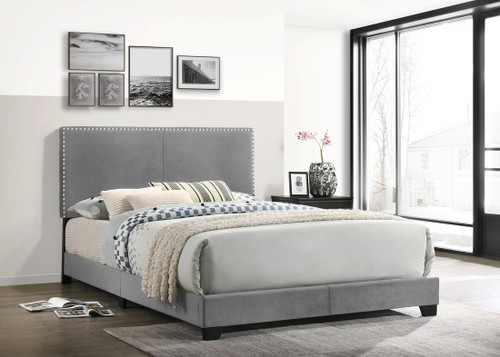 EMILIA GRAY COLOR UPHOLSTERED BED AND MATTRESS COMBO