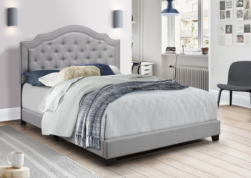 AMELIA GRAY COLOR UPHOLSTERED IN LINEN FABRIC BED AND MATTRESS