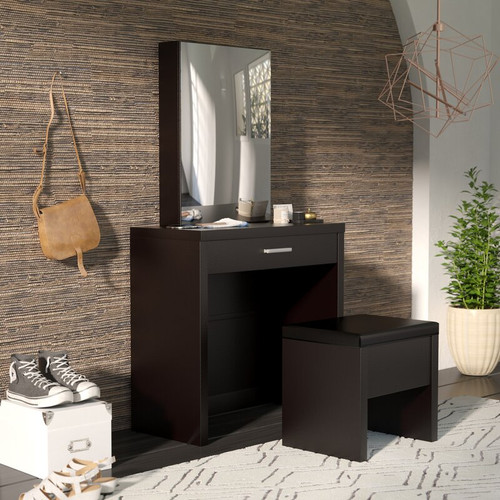 2-Piece Vanity Set With Lift-Top Stool Cappuccino  SKU: 300289