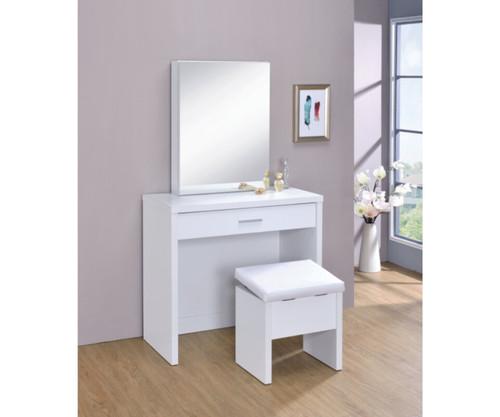 2-Piece Vanity Set With Lift-Top Stool White  300290