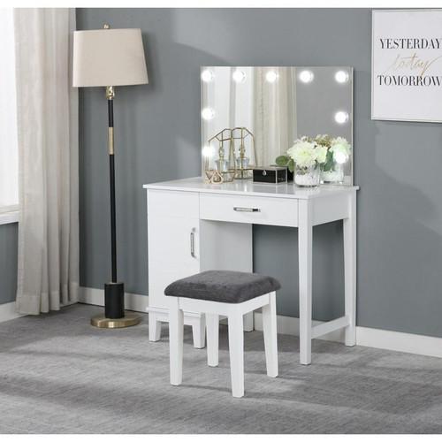 Vanity Set With LED Lights White And Dark Grey, 931149