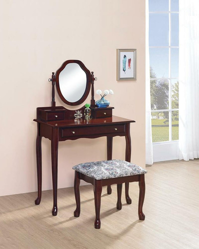 2-Piece Vanity Set With Upholstered Stool Brown Red, 3441