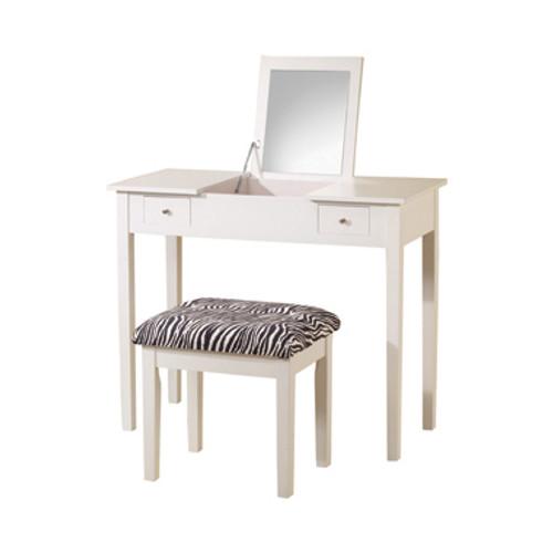 2-Piece Vanity Set White And Zebra, 300285