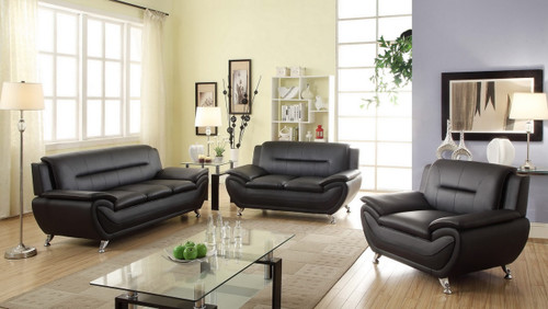 2PC PATRICK CONTEMPORARY SOFA AND LOVESEAT IN BLACK-868-Set