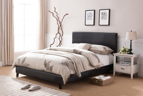 LORENZO BLACK LEATHER PLATFORM BED (NO BOXSPRING REQUIRED)