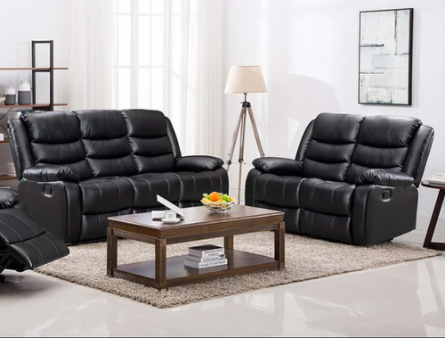 2PC PALERMO LEATHER RECLINER SOFA AND LOVESEAT (BLACK)