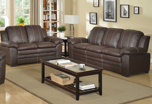 GIORGIO BROWN 2 PCS SOFA - LOVESEAT-2510-L