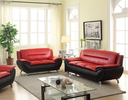 LONDON BLACK AND RED LIVING ROOM SET (3PCs)