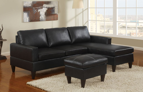 ALL-IN-ONE SECTIONAL IN BLACK FAUX LEATHER (F7297)