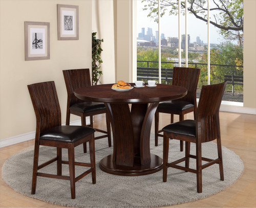 DARIA COUNTER HEIGHT ROUND DINING TABLE TOP 5PC SET ESPRESSO